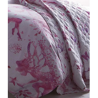 Fairy Princess Quilted Throw , Pink and White Bedspread.