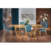 Brier Honey Oak Wood Wide Extending Dining Table 160-240cm