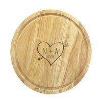 Sketch Heart Wooden Pizza Board