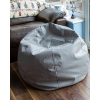 Faux Leather Bean Bag - Grey