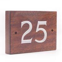2 Digit Solid Iroko Wood House Number
