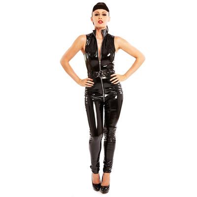 PVC Belted Diva Catsuit Black