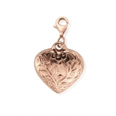 Large Embossed Heart Pendant - Rose Gold