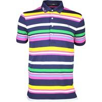 RLX Golf Shirt - YD Stripe Pique French Navy Multi SS16