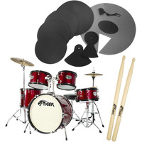 Tiger Junior 5 Piece Red Drum Kit with Silencer Pads