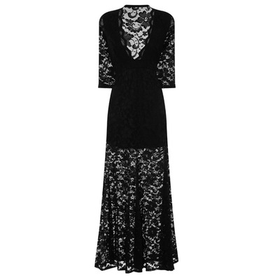 Nazz Collection Lottie Black Lace Long Sleeve Maxi Dress