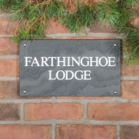 Slate House Sign 2 Line 35.5 x 20cm - smooth slate
