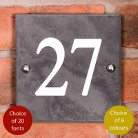 Square Smooth Slate House Number 15 x 15cm