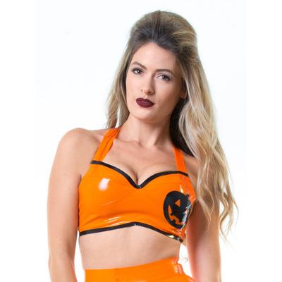 Orange Latex Halloween Halter Top S