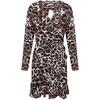 John Zack Women's Long Sleeved Wrap Frill Mini Dress - Animal Print