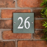 Smoky Green Slate square house number