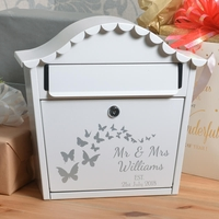 Personalised Wedding Letterbox With Name Date and Butterflies