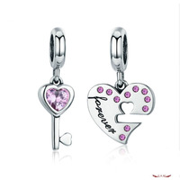 Sterling Silver Lock And Key Heart Charm