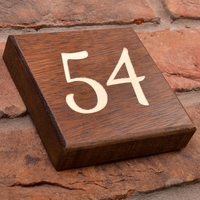 Solid Iroko Wood House Number Square