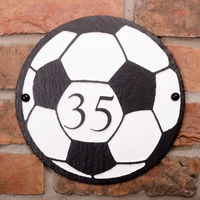 Round Rustic Slate House Number with Football Image
