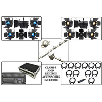 Complete Stage Lighting Installation Package with Powered Lighting Bars and LED Fresnels