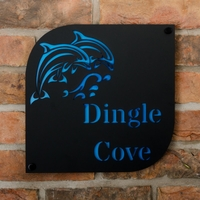 Dolphin Motif Coastal Acrylic House Sign