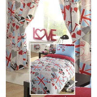 Princess Love Union Jack Double Duvet with Matching Curtains