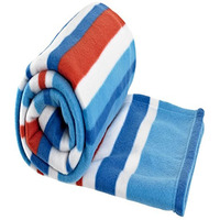 Red, Blue and White Striped Fleece Blanket
