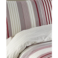Red Stripe Single Bedding, 100% Brushed Cotton - Plymouth