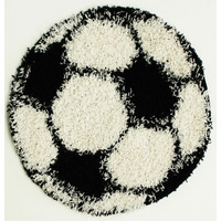 Black and White Football Shaped Rug - 80 x 80 cm