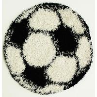 Black and White Boys Football Rug - 80 x 80 cm