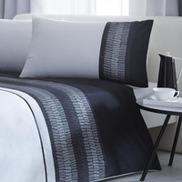 Black Satin Look Single Bedding with Embellishments - Phoenix