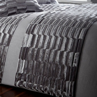 Murray, Grey Crushed Velvet Quilted Bed Runner