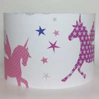 Unicorns and Stars Large Fabric Light Shade