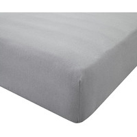 Grey, 100% Brushed Cotton Double Fitted Sheet