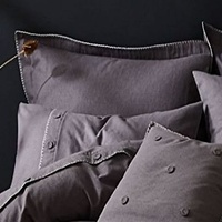 Grey, Brushed Cotton Blanket Stitch Oxford Pillowcases - Pack of Two