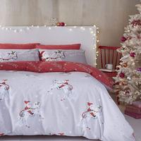 Catherine Lansfield Christmas Unicorn Easy Care Double Duvet Set Grey