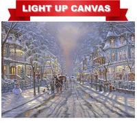 Victorian Snowy Christmas Scene LED Light Up Canvas