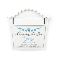 Personalised Christening Letterbox With Blue Letters