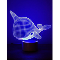 3D Optical Illusion Night Light - Narwhal