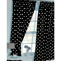 Polka Dot Curtains 54s - Black