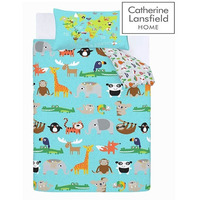 Catherine Lansfield Animal Adventure Easy Care Single Duvet Set Blue