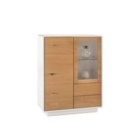 Touloula 100cm White And Knotty Oak Tall Sideboard With Display Area