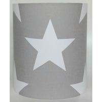 Grey with Large White Stars Medium Fabric Light Shade
