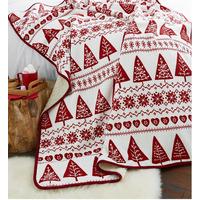 Catherine Lansfield Nordic Trees Christmas Fleece Blanket - Red