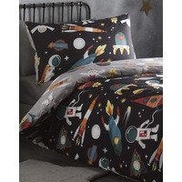 Spaceman Grey With Black Reverse Side - Single Bedding