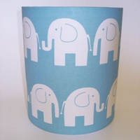 Blue Elephant, Medium Fabric Light Shade