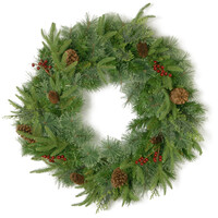 Cleveland Fir Feel-Real Christmas Wreath with 8 Red Berries & 8 Pine Cones - 2ft / 60cm