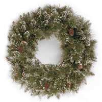 Sparkling Pine Christmas Wreath with 15 Pine Cones - 2ft / 60cm