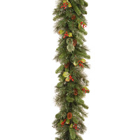 Woodbury Pine Christmas Garland with Cones, Red Berries and Snowflakes - 9ft