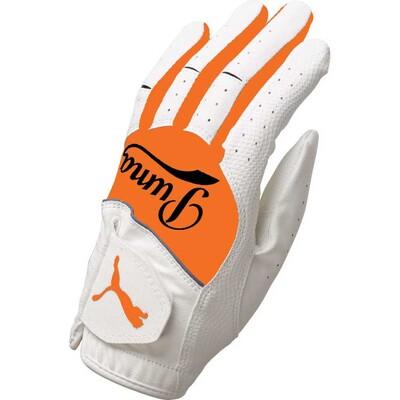 Puma Junior Golf Glove Synthetic Leather White Orange AW16