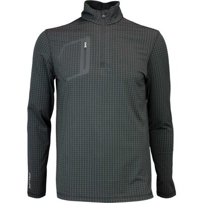 RLX Golf Pullover Printed Mock Neck Zip Black Window Pane AW16