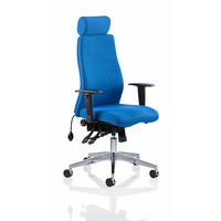 Image of Onyx Posture Chair with Headrest Blue Fabric