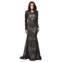 Image of Nazz Collection Penelope Black Geometric Sequin Backless Mesh Fishtail Maxi Dress