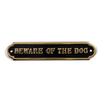 Beware of the Dog Sign in brass